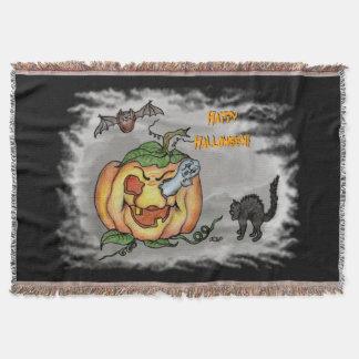 Ghost, Bat and Cat, Happy Halloween! Throw Blanket