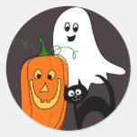Ghost Cat and Pumpkin Halloween Stickers