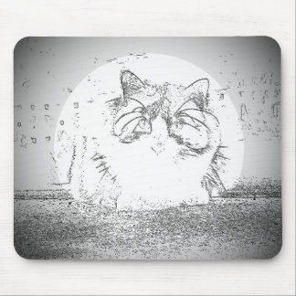 Ghost Cat Spotlight Mouse Pad