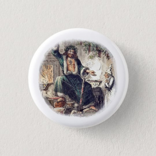 Ghost Christmas Present with Scrooge 3 Cm Round Badge