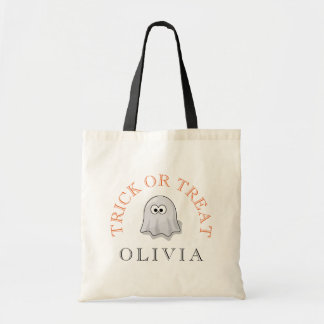 Ghost Costume Halloween Trick or Treat Name Tote Bag