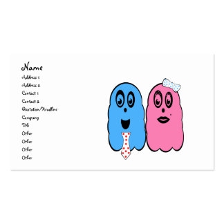 Ghost couple in pink and blue pack of standard business cards