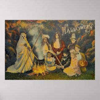 Ghost Cowboy Costume Jack O Lantern Pumpkin Poster