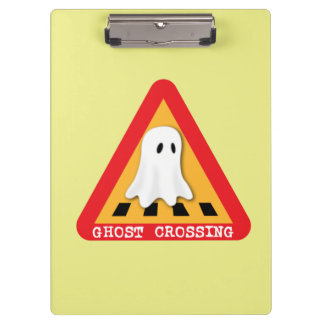 Ghost Crossing Sign - Yellow Background Clipboard