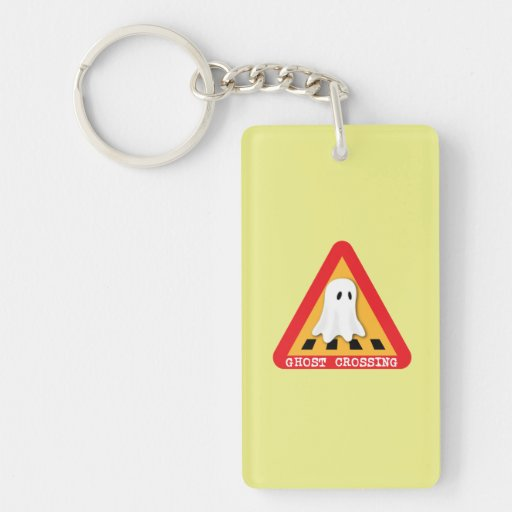 Ghost Crossing Sign - Yellow Background Keychains