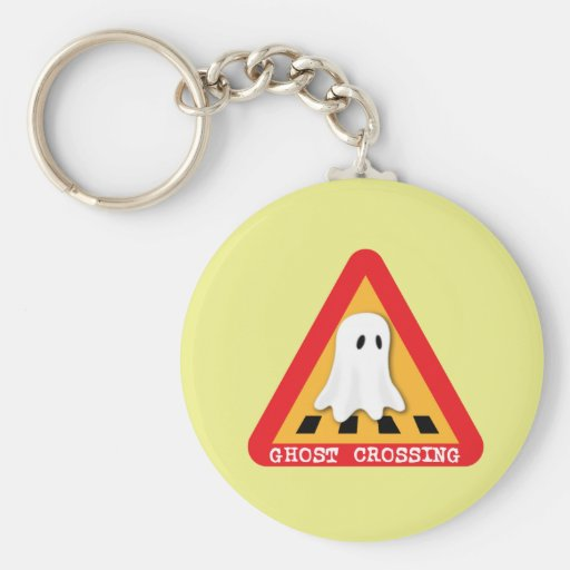 Ghost Crossing Sign - Yellow Background Keychain