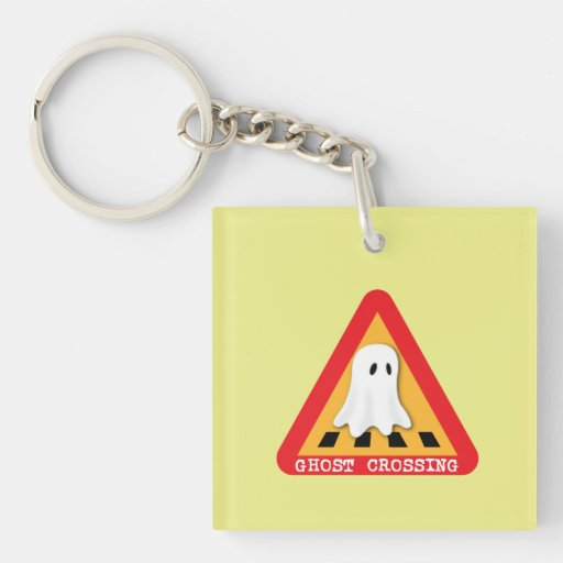 Ghost Crossing Sign - Yellow Background Key Chain