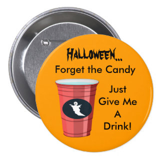 Ghost Drinking Cup Funny Halloween Cocktail Round 7.5 Cm Round Badge