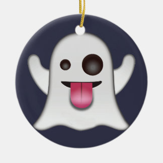 Ghost emoji christmas ornament