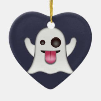Ghost emoji christmas ornament