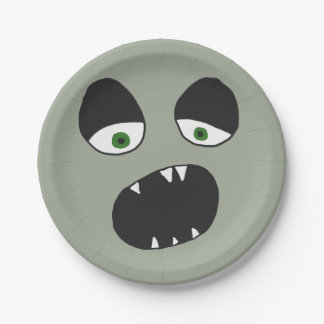 Ghost Face Eyes and Mouth 7 Inch Paper Plate