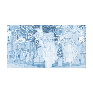 Ghost Girls Escaping Cemetery vintage Art Death Canvas Print