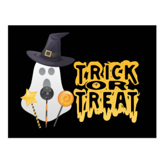 Ghost Goes Trick of Treat Postcard