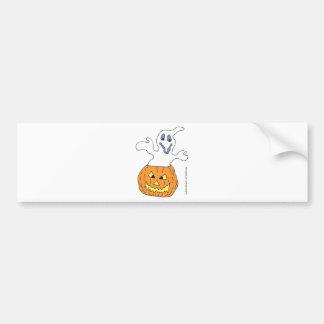 Ghost haunting pumpkin bumper stickers