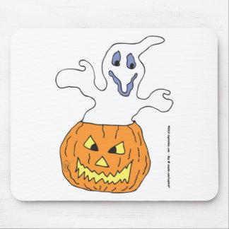 Ghost haunting pumpkin mousepads