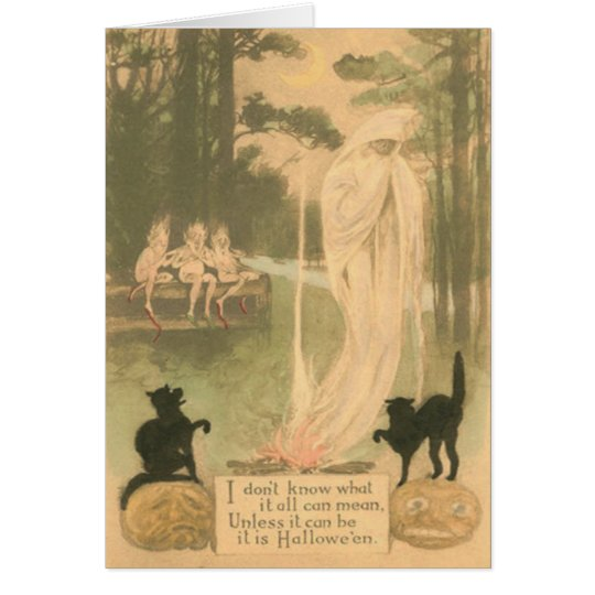 Ghost Jack O Lantern Black Cat Elves Card