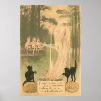 Ghost Jack O Lantern Black Cat Elves Poster