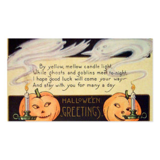 Ghost Jack O Lantern Candles Vintage Halloween Double-Sided Standard Business Cards (Pack Of 100)