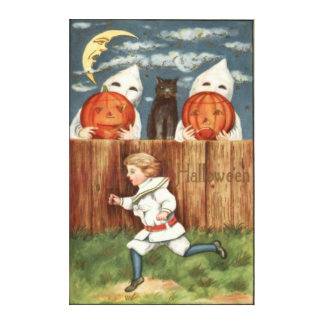 Ghost Jack O' Lantern Children Black Cat Stretched Canvas Print