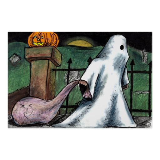 Ghost Jack O' Lantern Costume Cemetery Candy Poster