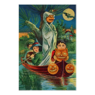 Ghost Jack O Lantern Owl Full Moon Posters