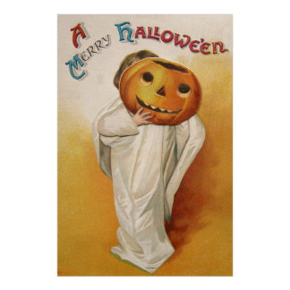 Ghost Jack O Lantern Pumpkin Child Poster