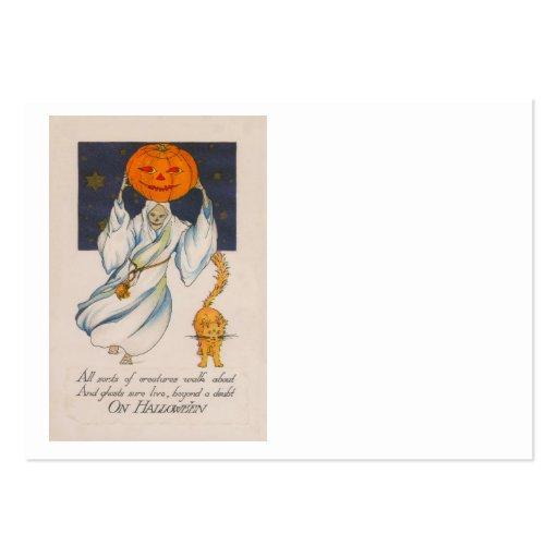 Ghost Jack O' Lantern Pumpkin Skeleton Costume Business Card Templates