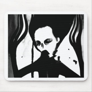 Ghost lady gothic mousepad, watercolour creepy mouse mat