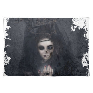 Ghost Lady Haunting Skull Skeleton Placemat