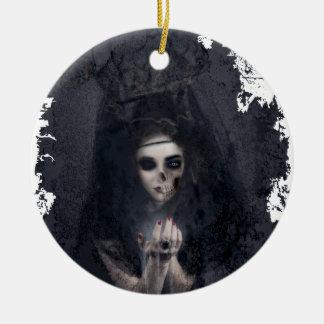 Ghost Lady Haunting Skull Skeleton Round Ceramic Decoration