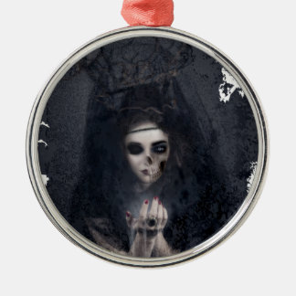 Ghost Lady Haunting Skull Skeleton Silver-Colored Round Decoration