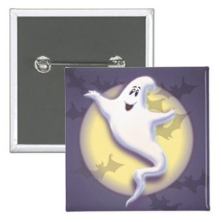 GHOST, MOON & BATS by SHARON SHARPE 15 Cm Square Badge