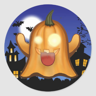 ghost of whatsapp in halloween classic round sticker