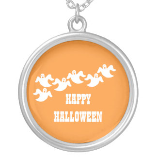 Ghost Party Halloween Necklace, Orange