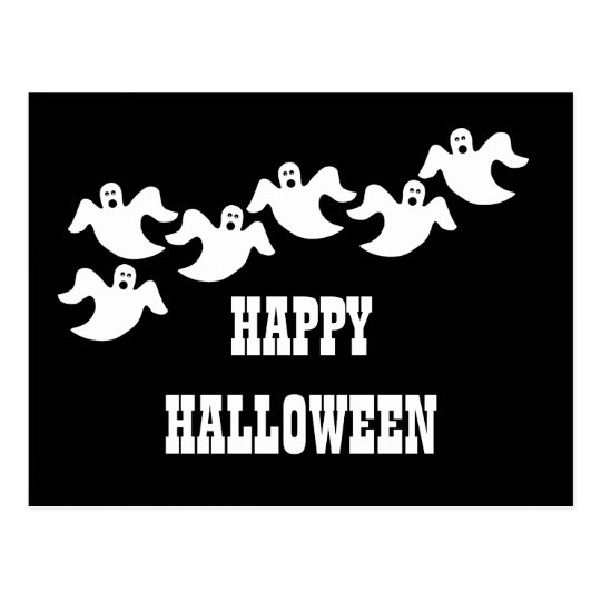 Ghost Party Halloween Postcard, Black Postcard