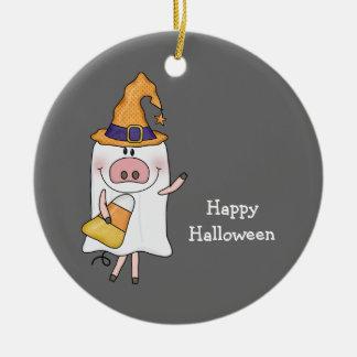 Ghost Pig (customizable) Round Ceramic Decoration