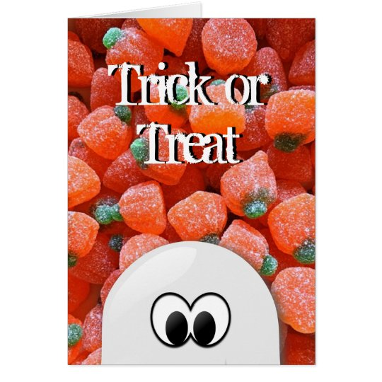 Ghost Pumpkin Candy Trick or Treat Halloween Card