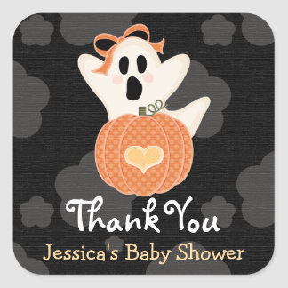 Ghost Pumpkin Thank You Stickers
