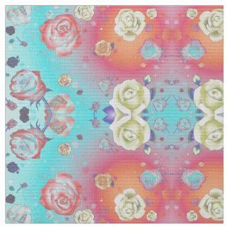 Ghost Roses Aqua Fabric