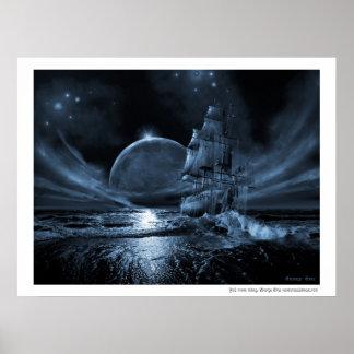 Ghost ship series Full moon rising Print