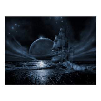 Ghost ship series Full moon rising Posters