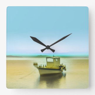 Ghost Ship Square Wall Clock