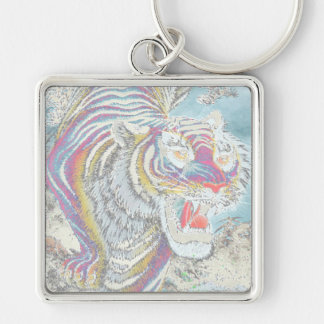 Ghost Tiger Large Premium Square Keychain