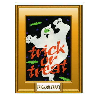 Ghost trick or treat postcard
