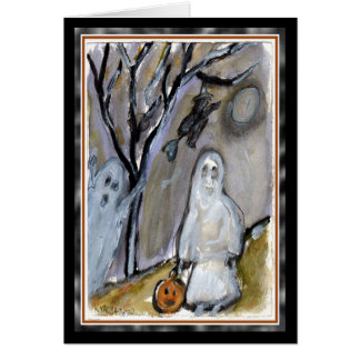 Ghost Trick or Treaters Halloween Card