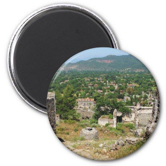 Ghost village - Kayakoy 6 Cm Round Magnet