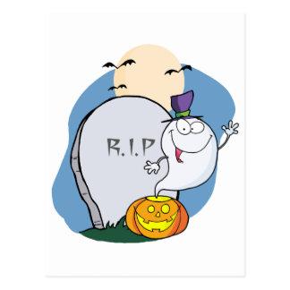 Ghost Waving  From Pumpkin Near Tombstone And Bats Postcard
