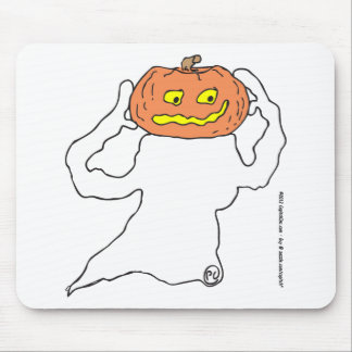 Ghost with pumkin head mousepad