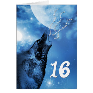 Ghost wolf  16th birthday card