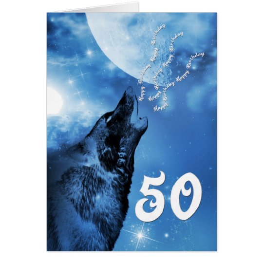 Ghost wolf  50th birthday card